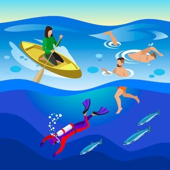 Atividades ao ar livre no mar com ilustração isométrica de natação e símbolos de mergulho
