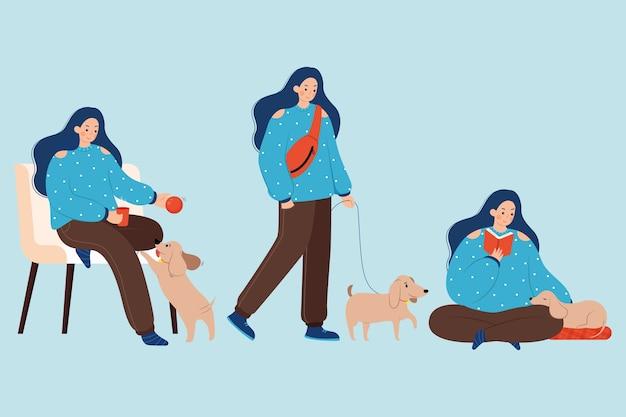Atividades com humanos e animais de estimação ao longo do dia