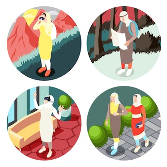 Atividades da vida do povo muçulmano moderno quatro ilustração isométrica redonda