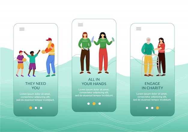 Atividades de caridade integrando o modelo de tela do aplicativo móvel. crianças, idosos e ecologia cuidam etapas do site com caracteres.