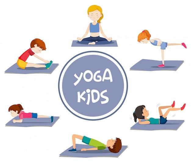 Atividades de crianças de ioga