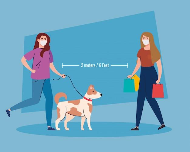 Atividades de distanciamento social, mulheres realizando atividades, mantêm distância na sociedade pública para se protegerem