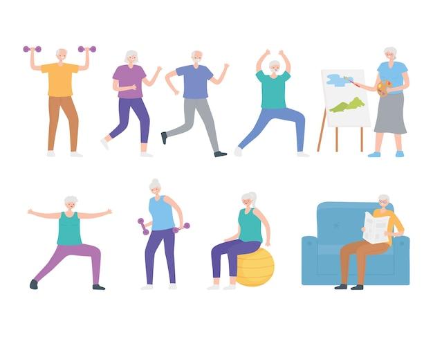 Atividades de esporte e hobby para idosos, homens e mulheres de personagens de desenhos animados.