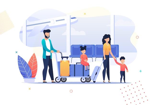 Atividades de família feliz cartoon viagens no aeroporto