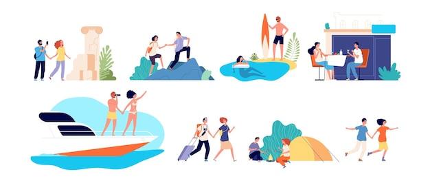 Atividades de férias. aventuras de viagens em família de mulheres. esportes aquáticos, estilo de vida ativo e costa oceânica. passeios turísticos, caminhadas conjunto de turismo. turismo de aventura, férias e viagens, viagem e jornada