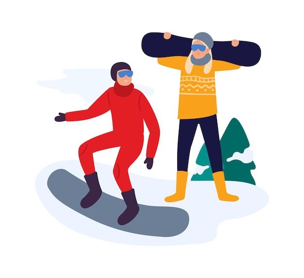 Atividades de inverno. amigos com snowboard tendo lazer ativo. casal levando estilo de vida saudável, fazendo exercícios, fazendo esporte. jovem e mulher em ilustração vetorial de resort de snowboard