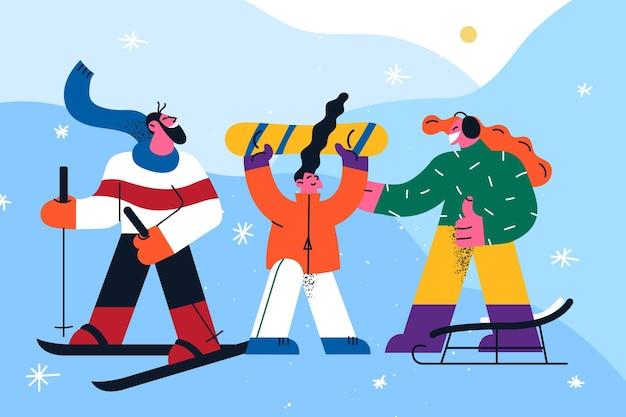 Atividades de inverno e ilustração esportiva