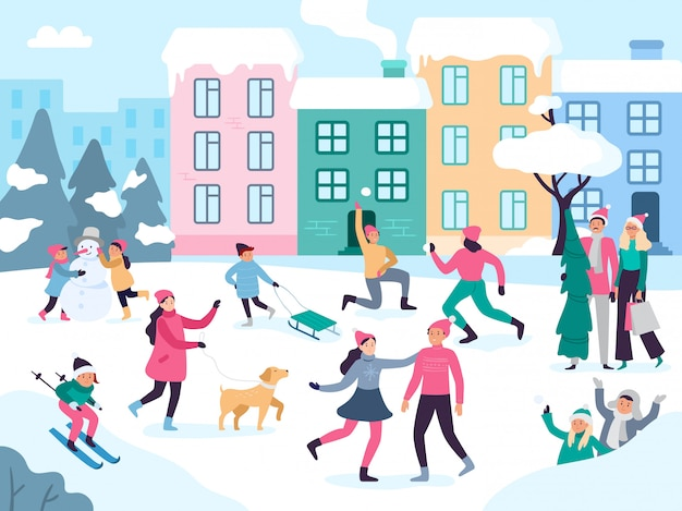 Atividades de inverno na cidade. pessoas caminhando ao ar livre com neve, diversão em família e eventos urbanos
