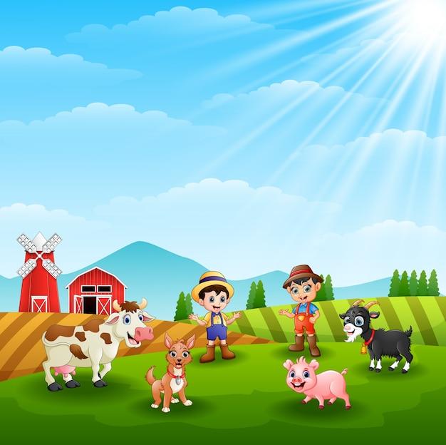 Atividades de jovens agricultores na fazenda