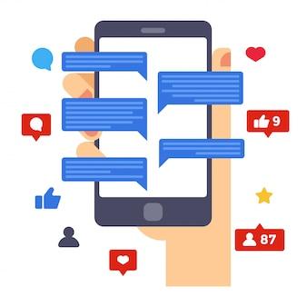 Atividades de mídia social no smartphone