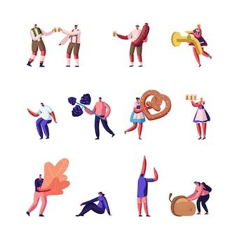 Atividades de outono e conjunto de oktoberfest. ilustração plana dos desenhos animados
