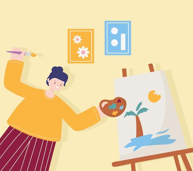 Atividades de pessoas, artista mulher desenho sobre tela, segurando a cor da paleta