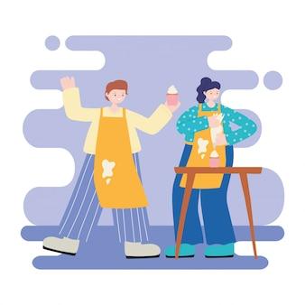 Atividades de pessoas, casal feliz cozinhar cupcakes doces dos desenhos animados