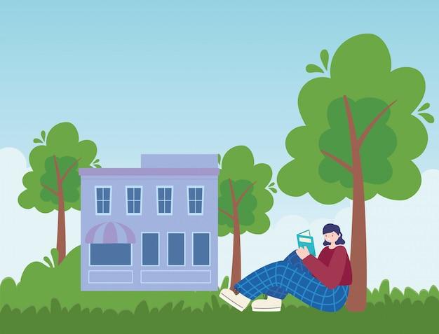 Atividades de pessoas, jovem mulher sentada no parque lendo livro