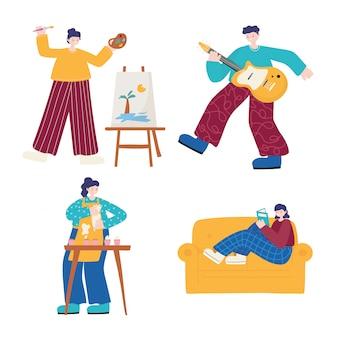 Atividades de pessoas, meninas desenhando, lendo culinária e garoto tocando violão