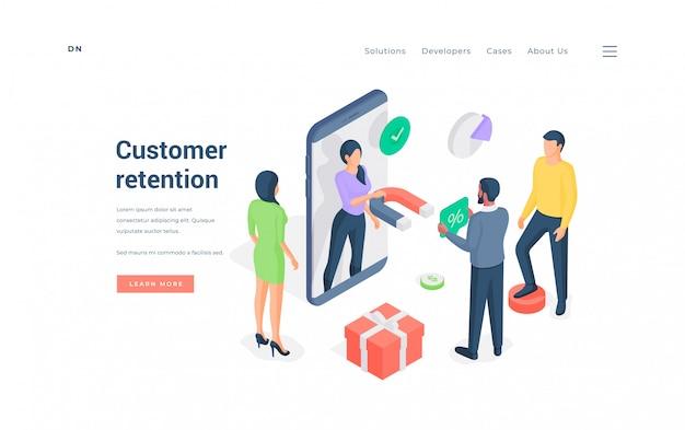 Atividades de retenção de clientes para ilustração de aplicativo de smartphone
