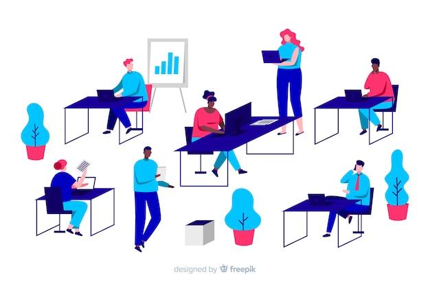 Atividades de trabalhadores de escritório de personagens de design plano