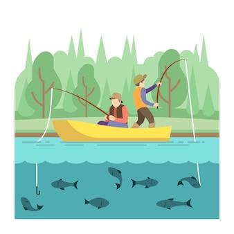 Atividades de verão ao ar livre. conceito de vetor de esporte de pesca. pesca de férias de verão, ilustração superar