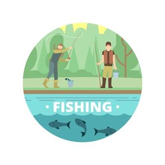 Atividades de verão ao ar livre. pessoas de pesca com peixe e equipamento vector brasão de armas