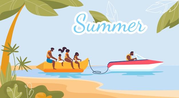Atividades de verão e publicidade divertida plana poster