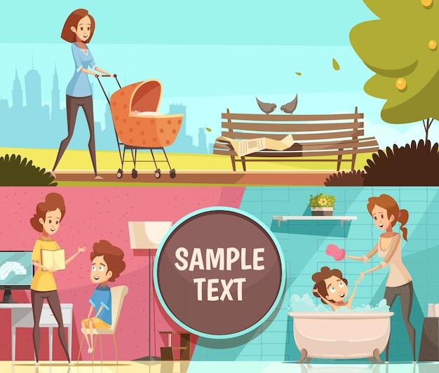Atividades diárias de maternidade 2 banners horizontais de desenho retrô conjunto com caminhada ao ar livre com ilustração vetorial de carrinho de bebê isolado