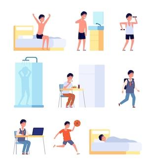 Atividades diárias do menino. higiene infantil, sorrindo, bebê ativo pela manhã. criança estudando comer acordar, ilustração vetorial de rotina de vida. menino, acordar matinal, tempo de descanso e estudo, atividade infantil