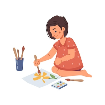 Atividades e educação para crianças no jardim de infância, criança pequena desenhando no papel com aquarela