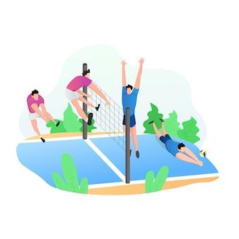Atividades esportivas com pessoas jogando vôlei