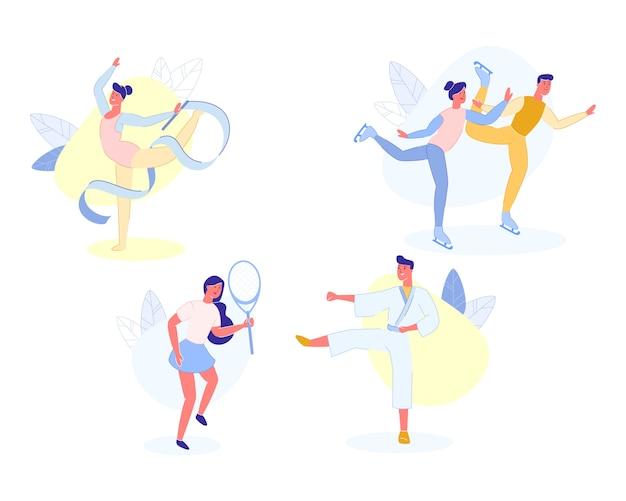 Atividades esportivas de pessoas e passatempo, desportistas.