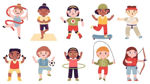 Atividades esportivas para crianças. conjunto de atividades infantis, ginástica, futebol, artes marciais e patins