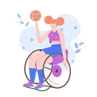 Atividades esportivas para pessoas com deficiência. menina em uma cadeira de rodas joga basquete. paraolimpíadas.