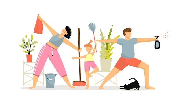 Atividades familiares de limpeza, tirar o pó e fazer exercícios juntos.