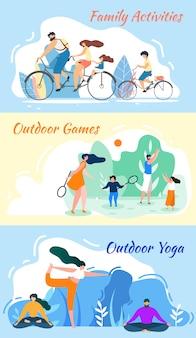 Atividades familiares. jogos ao ar livre. prática de yoga