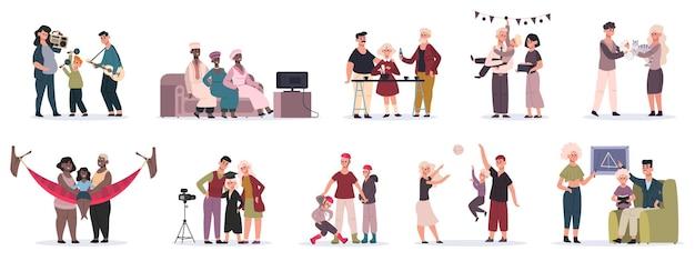 Atividades familiares. mãe, pai e filhos brincando, cozinhando e decorando a casa juntos