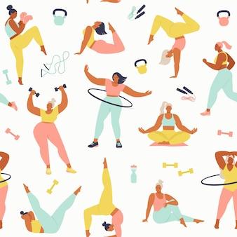 Atividades femininas de diferentes tamanhos, idades e corridas.