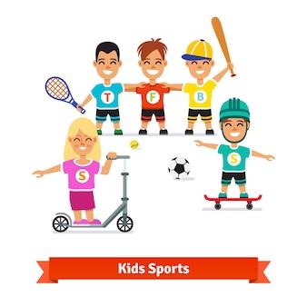 Atividades físicas de meninos e meninos Vetor grátis