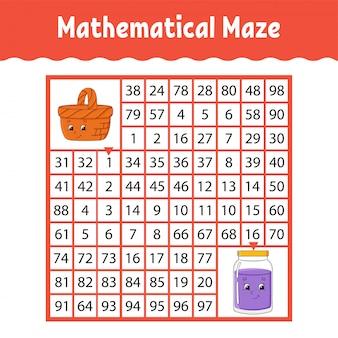 Atividades infantis de labirinto matemático