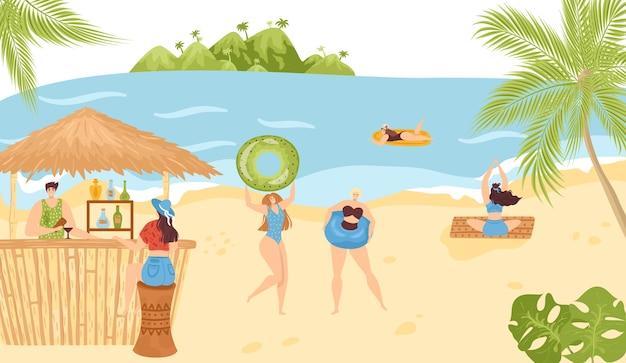 Atividades na praia no verão nas férias no mar