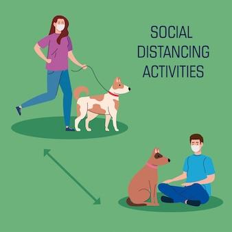 Atividades sociais de distanciamento, casal com cachorros, mantêm distância na sociedade pública para se protegerem