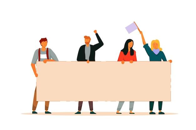 Ativista de pessoas. grupo de homem e mulher segurando juntos a manifestação da bandeira de grande protesto em branco. ativista com cartaz de demonstração de desfile político. ilustração de proteção de direitos de personalização