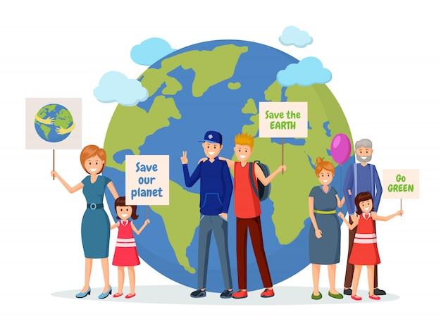 Ativistas ambientais com cartazes planos