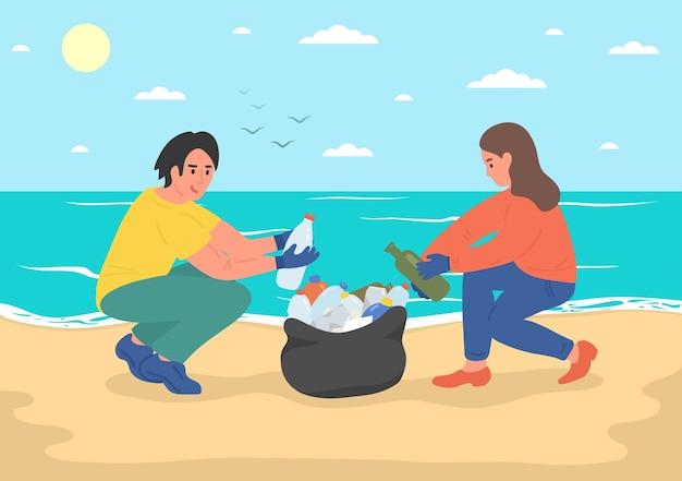 Ativistas ambientais voluntários limpando a praia do mar