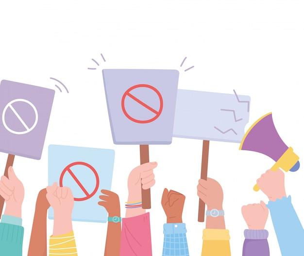 Ativistas de protesto de manifestação, mãos para cima segurando placa de proibição e ilustração de megafone
