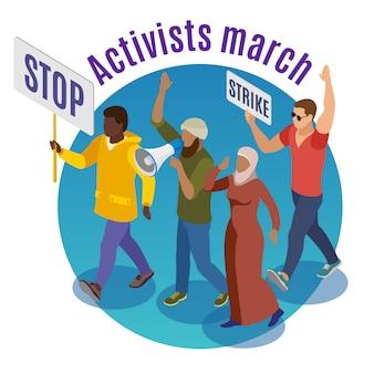 Ativistas marcham em volta do conceito com grupo de manifestantes segurando cartazes e megafone isométrico