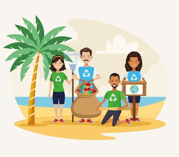 Ativistas pessoas limpeza cena de praia