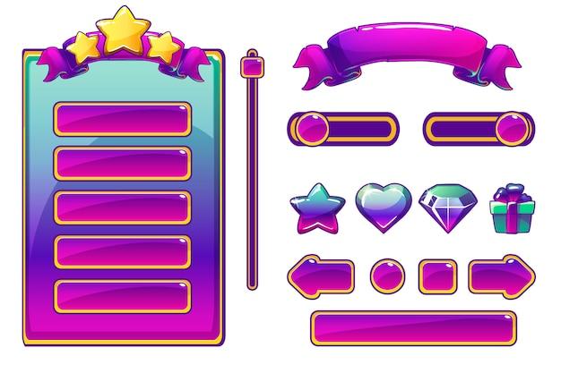 Ativos roxos dos desenhos animados e botões para jogo de interface do usuário, interface de usuário do jogo