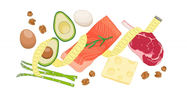 Atkins low carb diet concept illustration