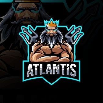 Atlantis mascote logotipo modelo esport