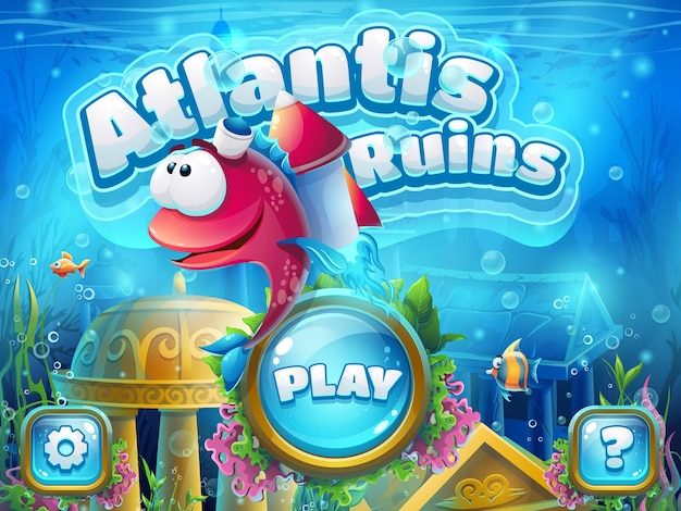Atlantis ruínas com foguete de peixe - ilustração vetorial para jogo.