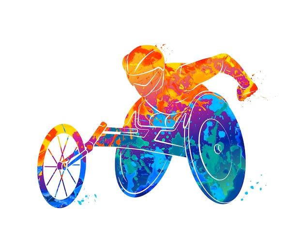 Atleta abstrata em cadeira de rodas, correndo de respingos de aquarelas. ilustração de tintas.